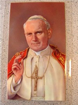 Pope John Paul II Laminated Holy Card