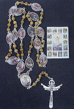 Stations of the Cross Chaplet Gift Set - Olive wood