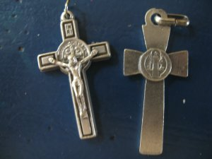St. Benedict's Crucifix silver tone versions