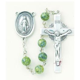 6mm Green Side Stone Rosary w/Sterling Crucifix