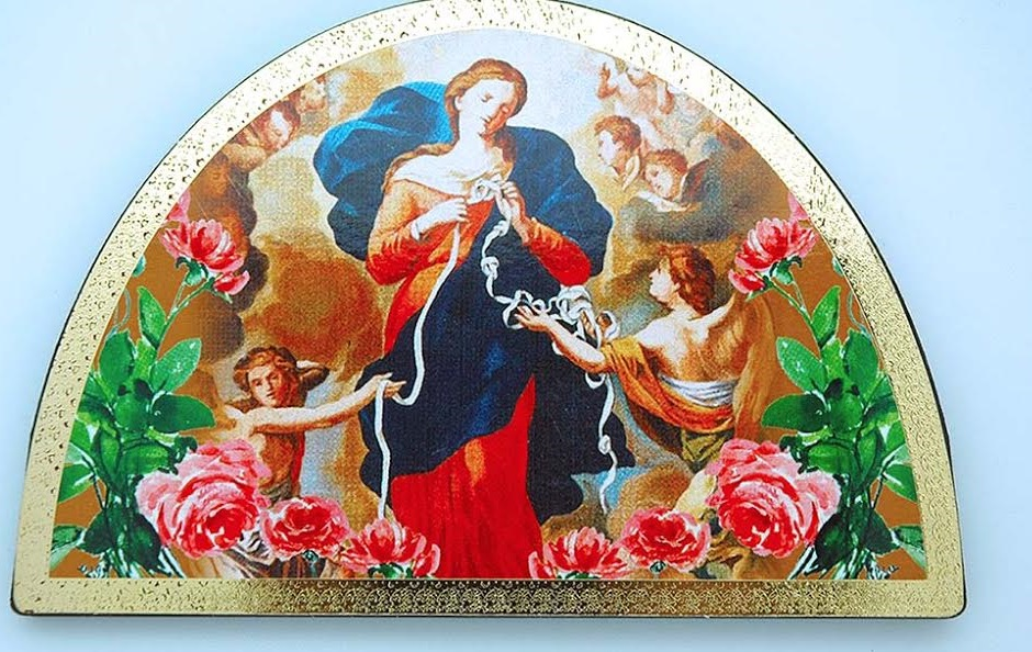 Mary Untier of Knots Italian Wooden Arch Icon